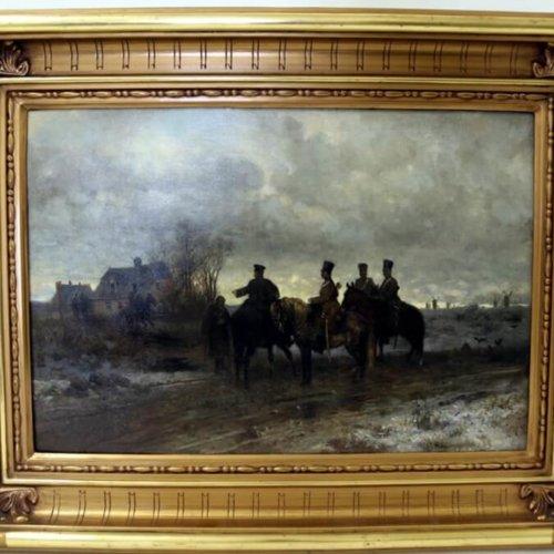 """ODNALEZIONO OBRAZ MAKSYMILIANA GIERYMSKIEGO """"PATROL POLSKI 1830 ROKU"""" Z 1869 ROKU"""